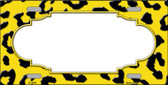 Yellow Black Cheetah Print With Scallop Wholesale Metal Novelty License Plate LP-4548