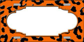 Orange Black Cheetah Print With Scallop Wholesale Metal Novelty License Plate LP-4549