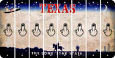 Texas MIDDLE FINGER Cut License Plate Strips (Set of 8) LPS-TX1-091