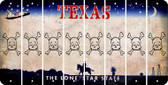 Texas SKULL Cut License Plate Strips (Set of 8) LPS-TX1-092