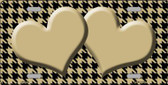 Gold Black Houndstooth With Gold Center Hearts Wholesale Metal Novelty License Plate LP-4586