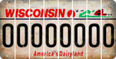 Wisconsin 0 Cut License Plate Strips (Set of 8) LPS-WI1-027