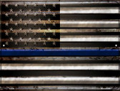 American Flag Thin Blue Line Wholesale Novelty Parking Sign P-2310