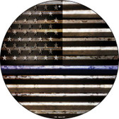 American Flag Thin Blue Line Wholesale Novelty Circular Sign C-893