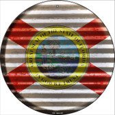 Florida Flag Corrugated Effect Wholesale Novelty Circular Sign C-919