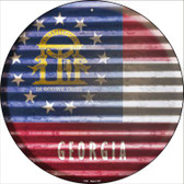 Georgia Flag Corrugated Effect Wholesale Novelty Circular Sign C-920