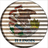 Illinois Flag Corrugated Effect Wholesale Novelty Circular Sign C-923