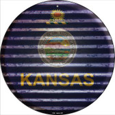 Kansas Flag Corrugated Effect Wholesale Novelty Circular Sign C-926