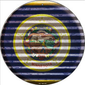 Minnesota Flag Corrugated Effect Wholesale Novelty Circular Sign C-933