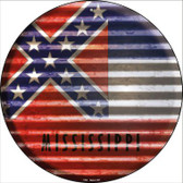 Mississippi Flag Corrugated Effect Wholesale Novelty Circular Sign C-934