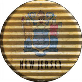 New Jersey Flag Corrugated Effect Wholesale Novelty Circular Sign C-940