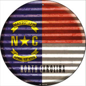 North Carolina Flag Corrugated Effect Wholesale Novelty Circular Sign C-943