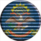 North Dakota Flag Corrugated Effect Wholesale Novelty Circular Sign C-944