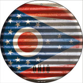 Ohio Flag Corrugated Effect Wholesale Novelty Circular Sign C-945