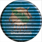 Oklahoma Flag Corrugated Effect Wholesale Novelty Circular Sign C-946