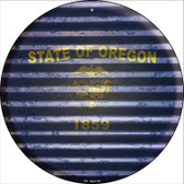 Oregon Flag Corrugated Effect Wholesale Novelty Circular Sign C-947