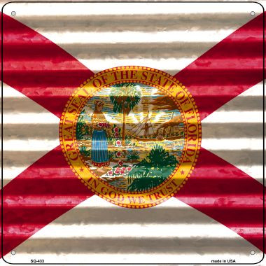 Florida Flag Corrugated Effect Wholesale Novelty Square Sign SQ-433