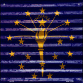 Indiana Flag Corrugated Effect Wholesale Novelty Square Sign SQ-438