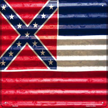Mississippi Flag Corrugated Effect Wholesale Novelty Square Sign SQ-448