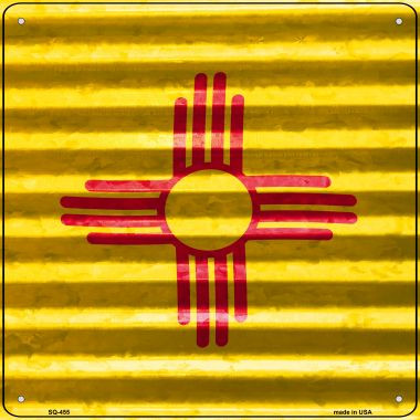 New Mexico Flag Corrugated Effect Wholesale Novelty Square Sign SQ-455
