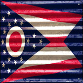 Ohio Flag Corrugated Effect Wholesale Novelty Square Sign SQ-459