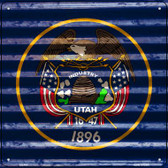 Utah Flag Corrugated Effect Wholesale Novelty Square Sign SQ-468