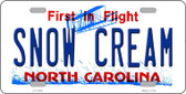Snow Cream North Carolina Wholesale Novelty License Plate LP-11859