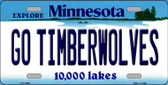 Go Timberwolves Minnesota State Novelty Wholesale License Plate LP-11055