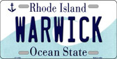 Warwick Rhode Island State License Plate Novelty Wholesale License Plate LP-11184