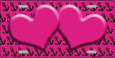 Pink Black Anchor Print With Pink Heart Center Wholesale Metal Novelty License Plate LP-5299