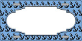 Light Blue Black Anchor Print With Scallop Center Wholesale Metal Novelty License Plate LP-5323