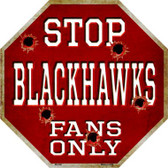 Blackhawks Fans Only Wholesale Metal Novelty Octagon Stop Sign BS-290