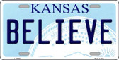 Believe Kansas Novelty Wholesale Metal License Plate