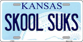 Skool Suks Kansas Novelty Wholesale Metal License Plate