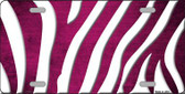 Pink White Zebra Oil Rubbed Wholesale Metal Novelty License Plate