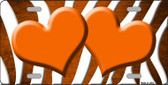Orange White Zebra Hearts Oil Rubbed Wholesale Metal Novelty License Plate