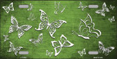 Lime Green White Butterfly Print Oil Rubbed Wholesale Metal Novelty License Plate