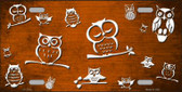 Orange White Owl Print Oil Rubbed Wholesale Metal Novelty License Plate