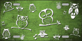 Lime Green White Owl Print Oil Rubbed Wholesale Metal Novelty License Plate
