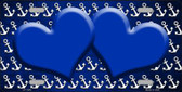 Blue White Anchor Hearts Print Oil Rubbed Wholesale Metal Novelty License Plate