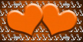 Orange White Anchor Hearts Print Oil Rubbed Wholesale Metal Novelty License Plate