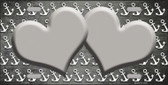 Gray White Anchor Hearts Print Oil Rubbed Wholesale Metal Novelty License Plate