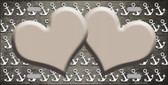 Tan White Anchor Hearts Print Oil Rubbed Wholesale Metal Novelty License Plate