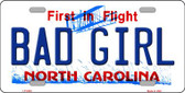 Bad Girl North Carolina Novelty Wholesale Metal License Plate