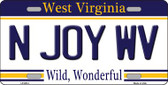 N Joy West Virginia Novelty Wholesale Metal License Plate