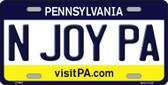 N Joy Pennsylvania State Background Novelty Wholesale Metal License Plate