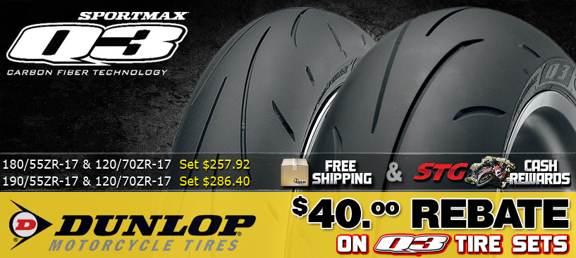 Buy a Set of Dunlop Q3 Tires and get a $40 Rebate from Dunlop for a limited time