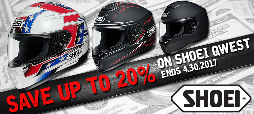 Save up to 20% On Shoei Qwest Helmets - Savings Ends 4.30.2017