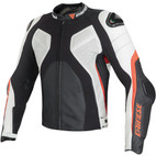 Dainese Super Rider Perforated Leather Jacket Black/White/Fluorescent-Red