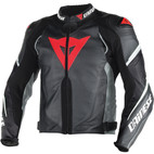 Dainese Super Speed D1 Perforated Leather Jacket Black/Anthracite/White